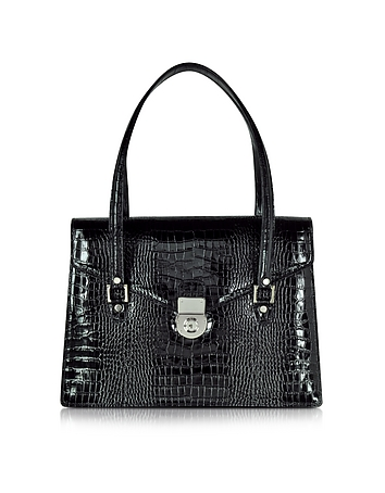 Black Croco-style Leather Double Gusset Briefcase