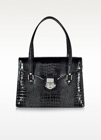 L.A.P.A. Черный Портфель с Двумя Отделами из Кожи под Крокодиловую