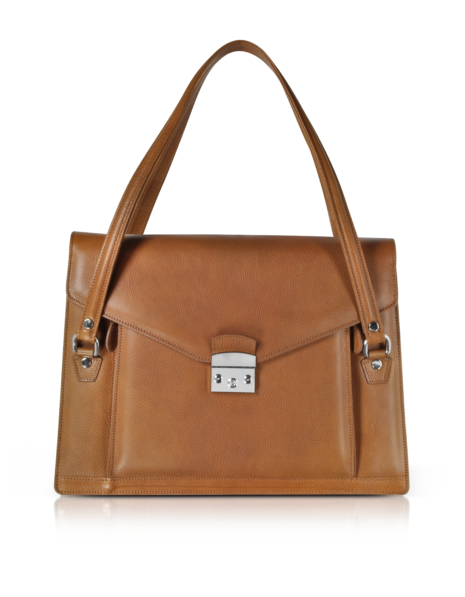 Double Compartment Calf Leather Women's Briefcase, Tan