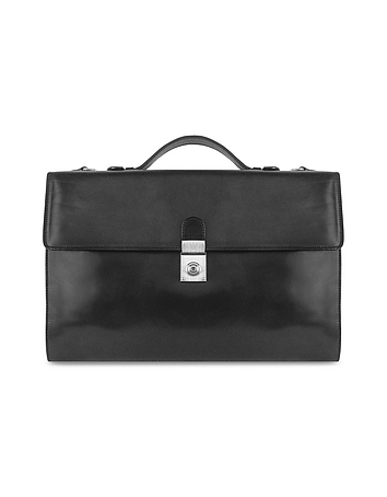 Men's Black Italian Leather Portfolio Briefcase