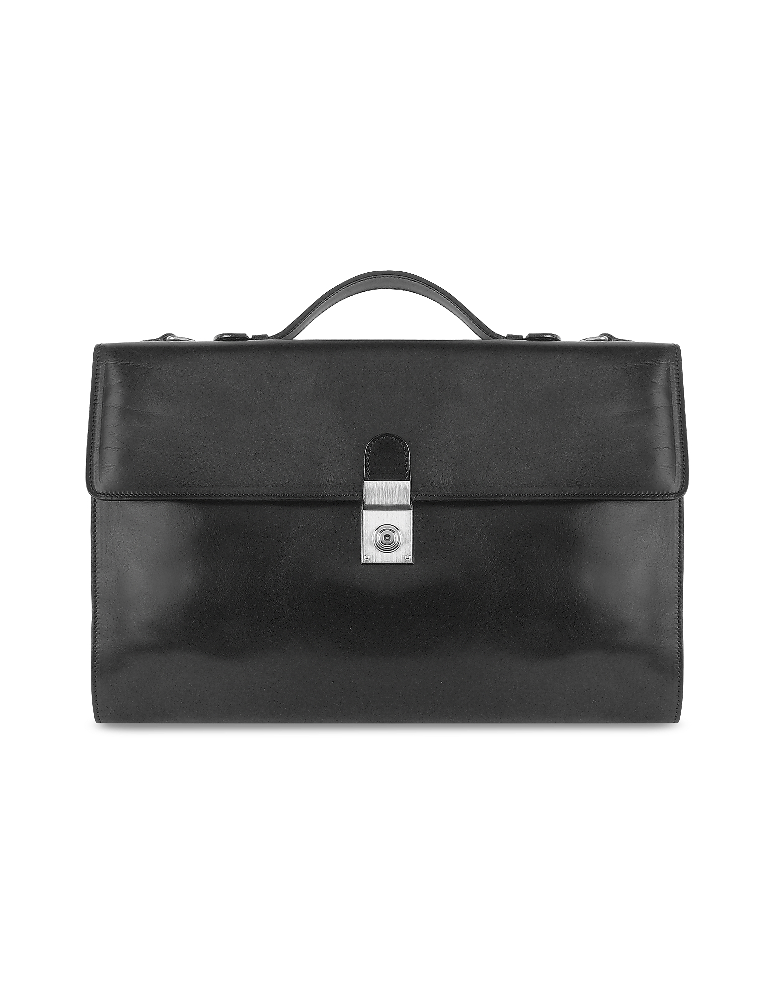 L.A.P.A. Designer Briefcases,  Men's Black Italian Leather Portfolio Briefcase