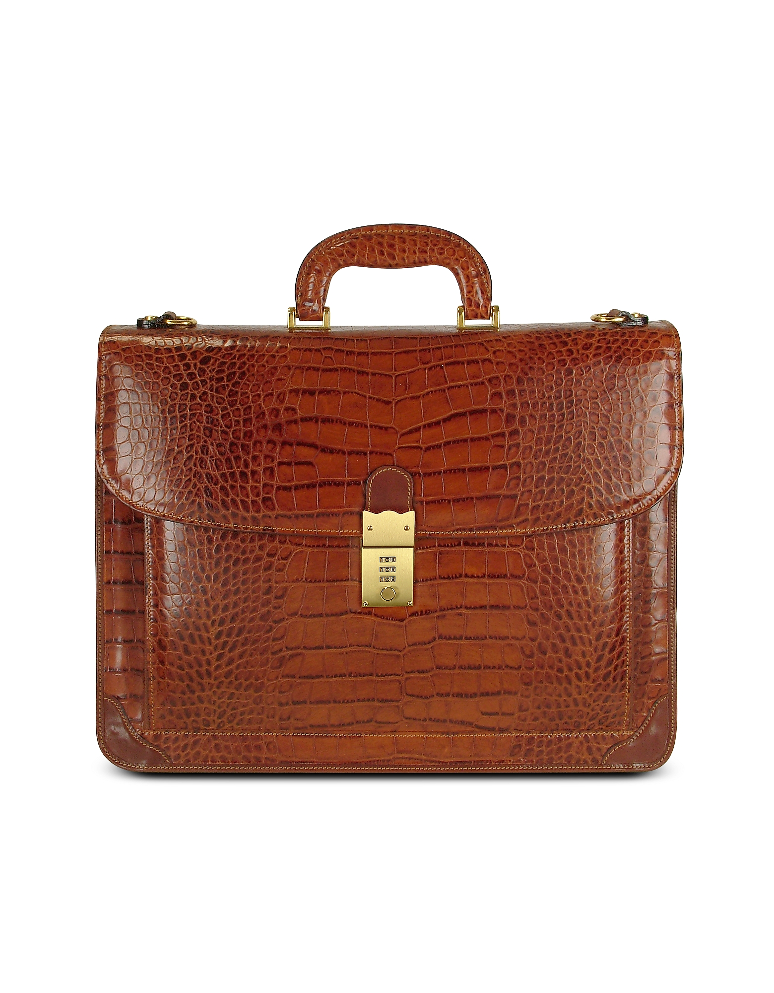 L.A.P.A. Briefcases, Men's Front Pocket Croco Stamped Italian Leather Briefcase