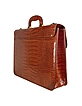 Men's Front Pocket Croco Stamped Italian Leather Briefcase - L.A.P.A.