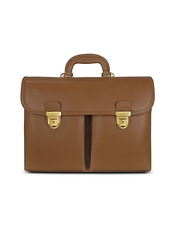 Men's Front-pocket Tan Brown Italian Leather Briefcase