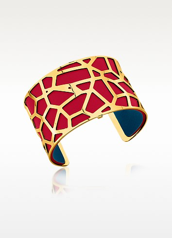 Giraffe Gold Plated Bracelet w/Red and Petrol Blue Reversible Leather Strap - Les Georgettes