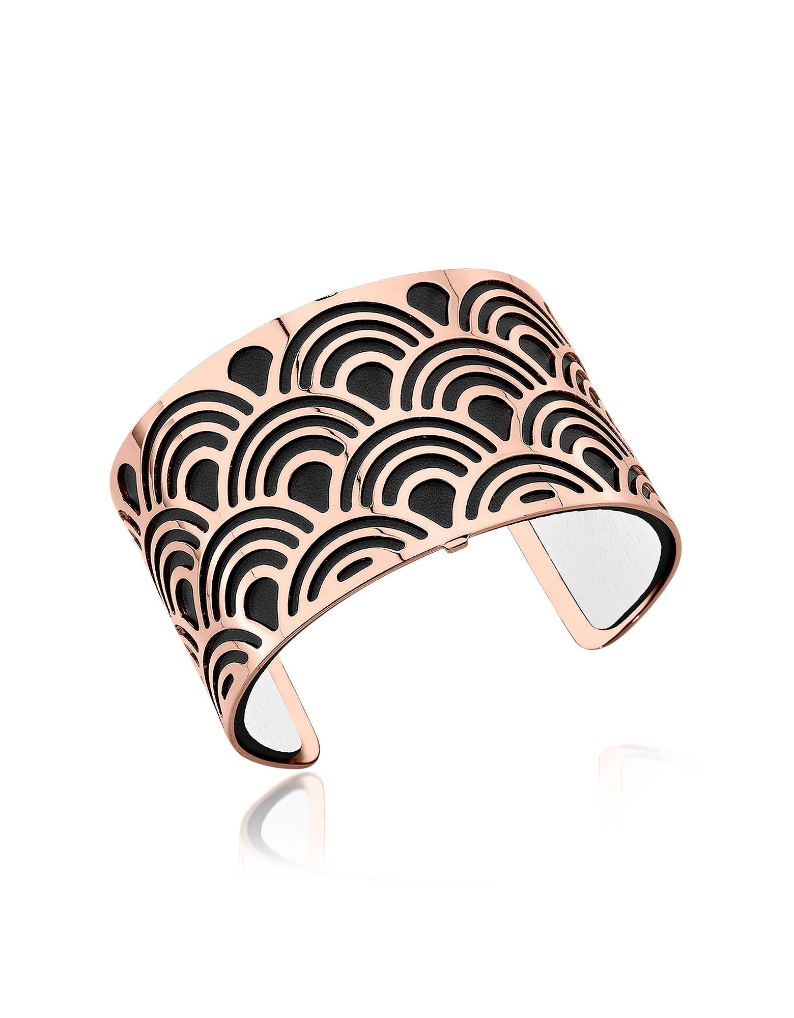 Les Georgettes Bracelets, Poisson Rose Gold Plated Bracelet w/Black and White Reversible Leather Str