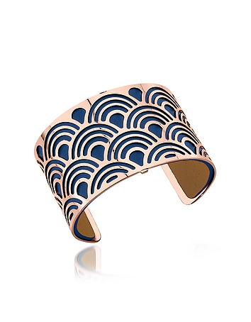 Les Georgettes - Poisson Rose Gold Plated Bracelet w/Navy Blue and Beige Reversible Leather Strap