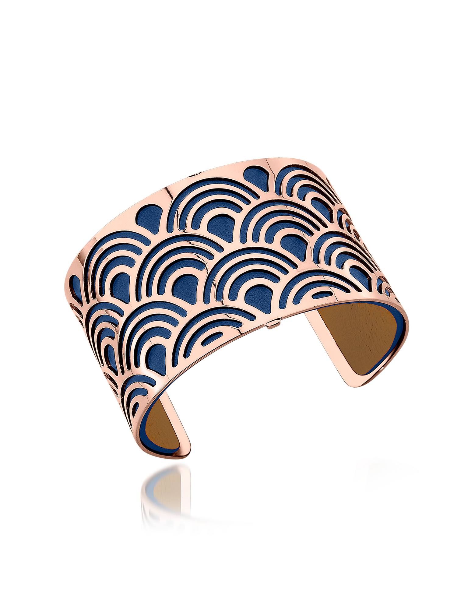 Les Georgettes Bracelets, Poisson Rose Gold Plated Bracelet w/Navy Blue and Beige Reversible Leather