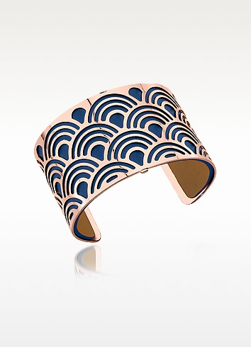 Poisson Rose Gold Plated Bracelet w/Navy Blue and Beige Reversible Leather Strap - Les Georgettes