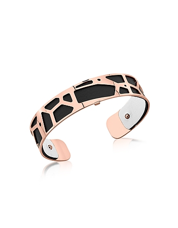 Small Girafe Rose Gold Plated Bracelet w/Black and White Reversible Leather ..