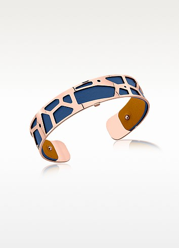 Small Giraffe Rose Gold Plated Bracelet w//Navy Blue and Beige Reversible Leather Strap - Les Georgettes