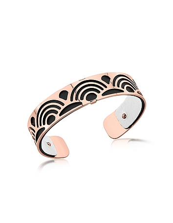Small Poisson Rose Gold Plated Bracelet w/Black and White Reversible Leather..