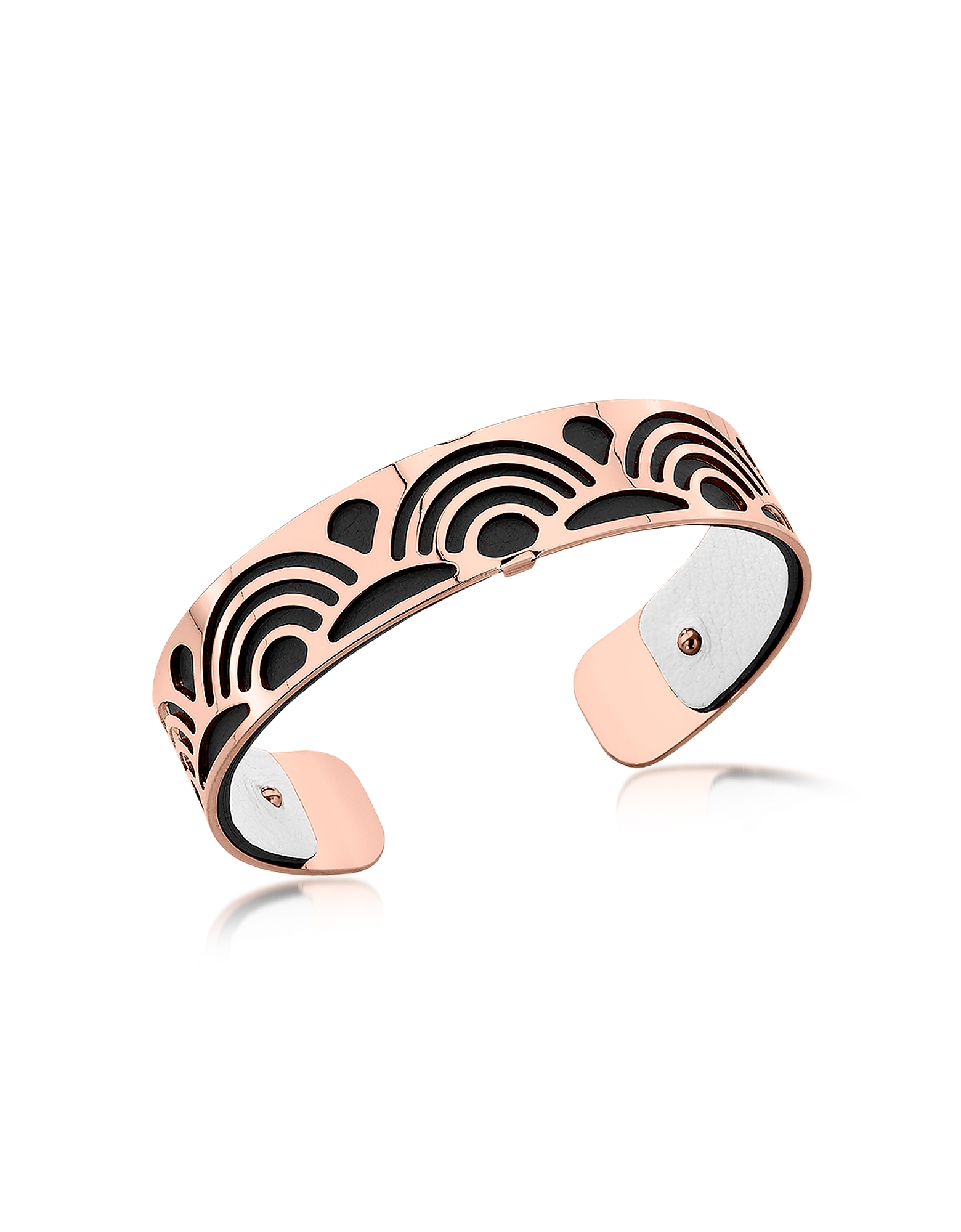 Les Georgettes Bracelets, Small Poisson Rose Gold Plated Bracelet w/Black and White Reversible Leath