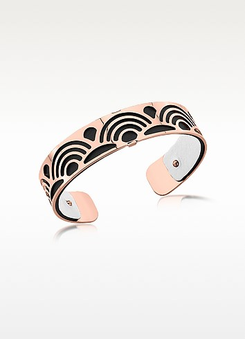 Small Poisson Rose Gold Plated Bracelet w/Black and White Reversible Leather Strap - Les Georgettes