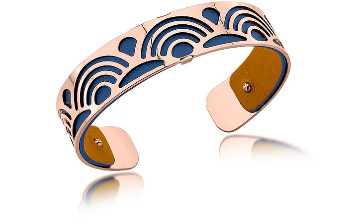 Small Poisson Rose Gold Plated Bracelet w//Navy Blue and Beige Reversible Leather Strap - Les Georgettes