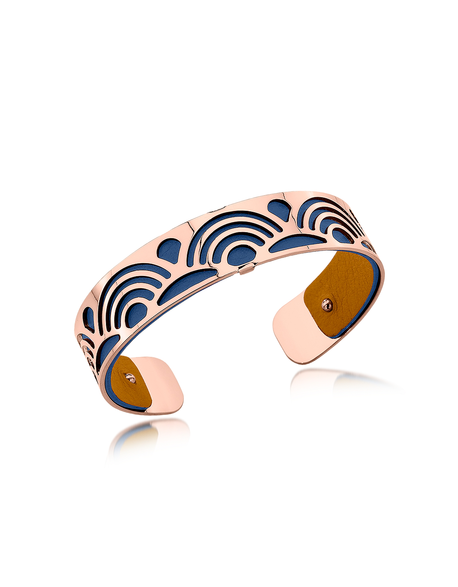 Les Georgettes Bracelets, Small Poisson Rose Gold Plated Bracelet w//Navy Blue and Beige Reversible