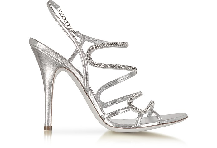 Silver Jeweled Sandal - Loriblu