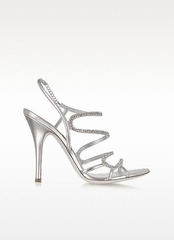 Silver Jeweled Sandal - Loriblu