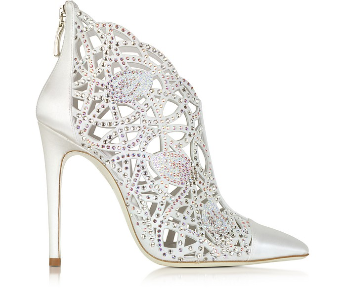 White Satin Jewel Bootie - Loriblu