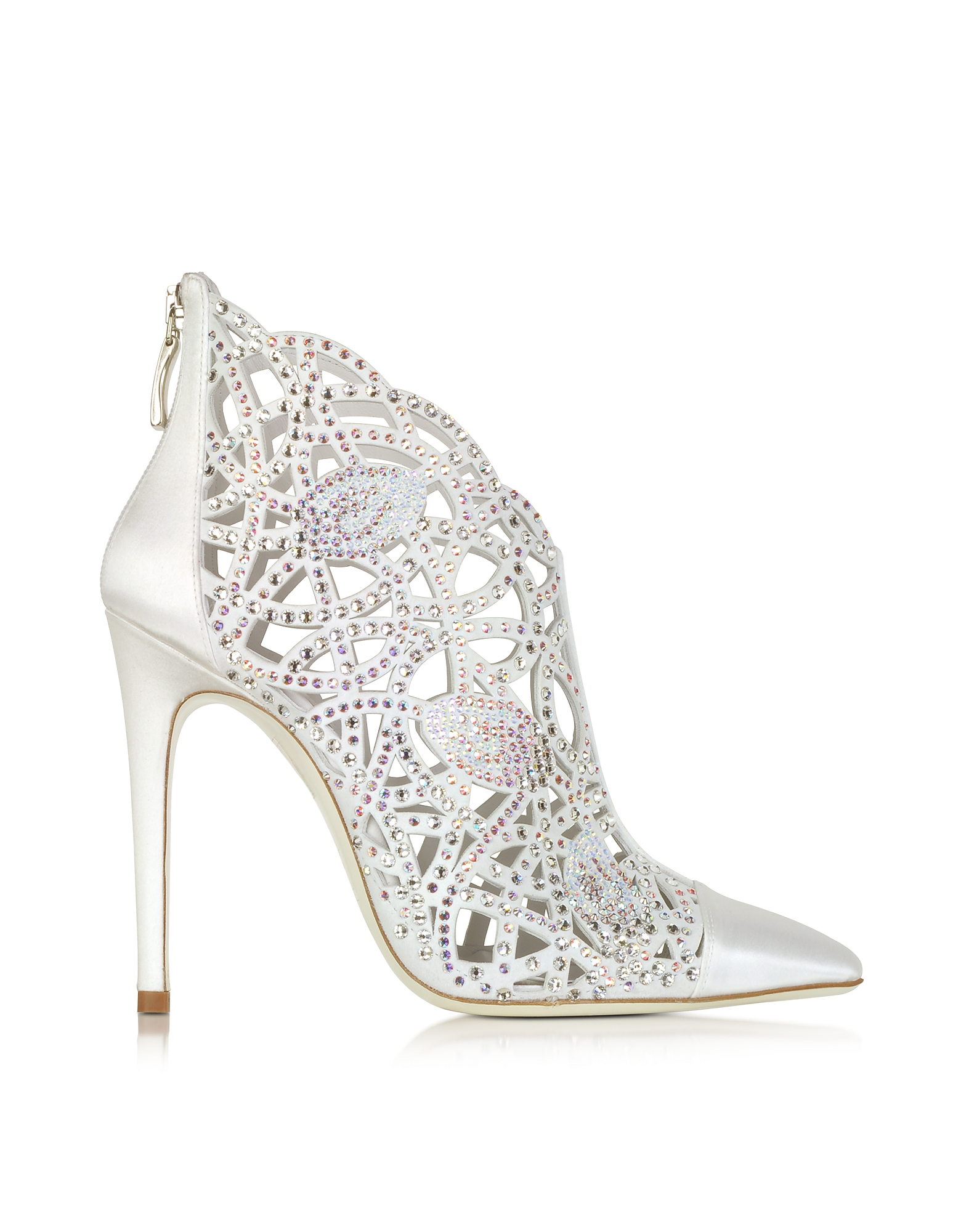 Loriblu Shoes, White Satin Jewel Bootie
