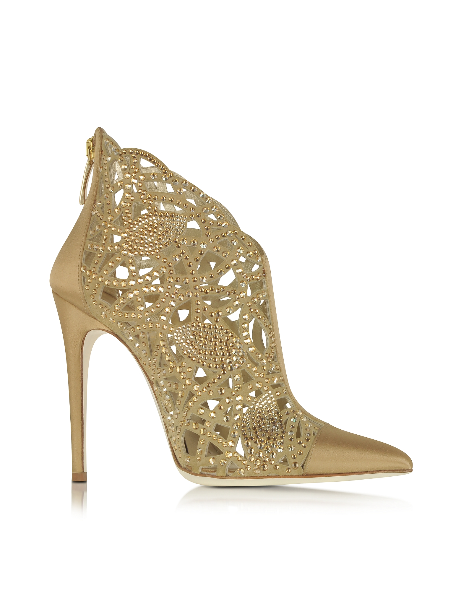 Loriblu Shoes, Golden Satin and Jewel Bootie
