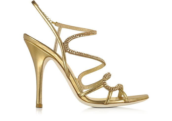 Golden Jeweled Sandal - Loriblu