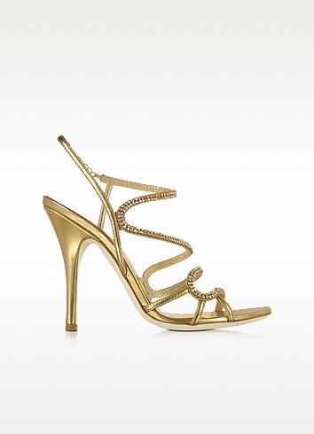 Golden Jeweled Sandal - Loriblu