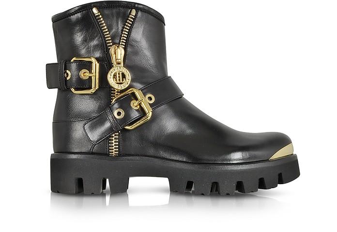 Black Nappa Leather Boot w/Buckles and Zip - Loriblu