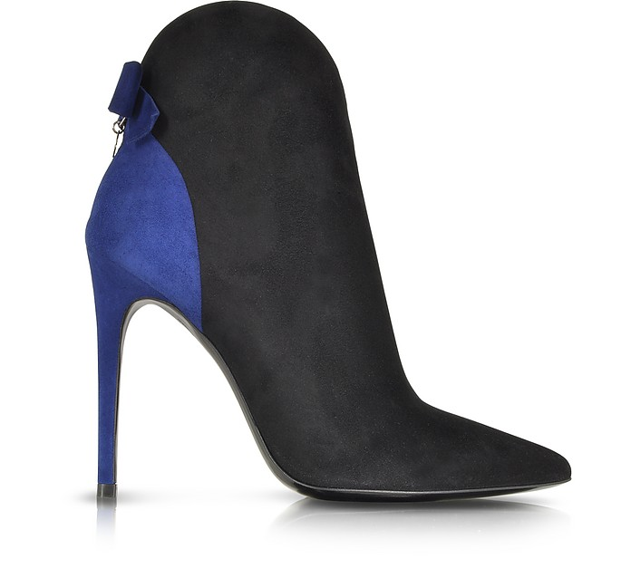 Pointed Black and Blue Suede Bootie - Loriblu
