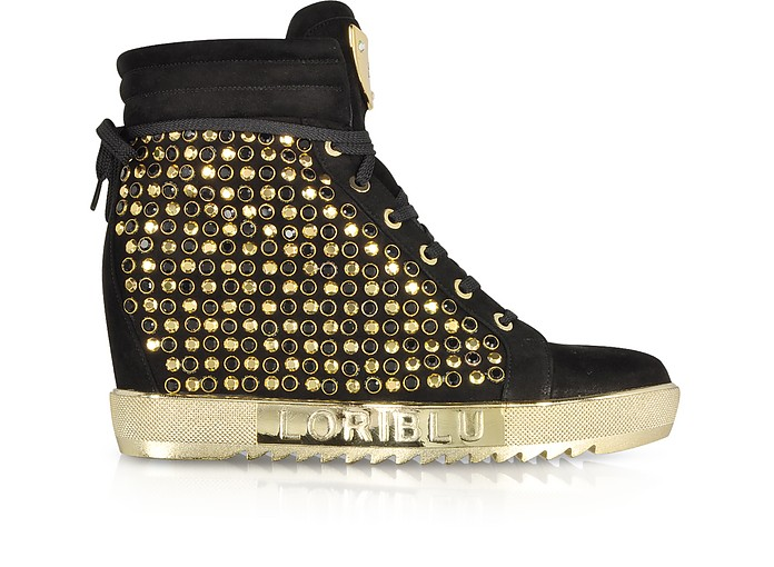 Black Suede Wedge Sneaker w/Crystals - Loriblu