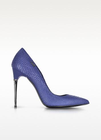 Blue Reptile Print Leather Pump - Loriblu