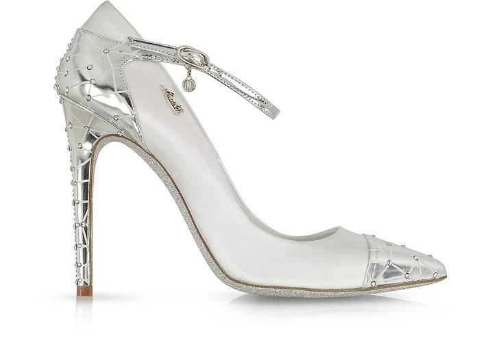 White Satin and Silver Leather Jewel Pump - Loriblu