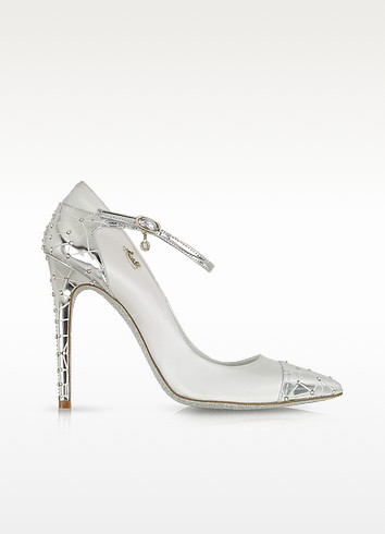 White Satin and Silver Leather Jewel Pump - Loriblu