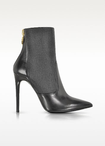 Black Leather Ankle Bootie w/Ribbed Stretch Insert - Loriblu