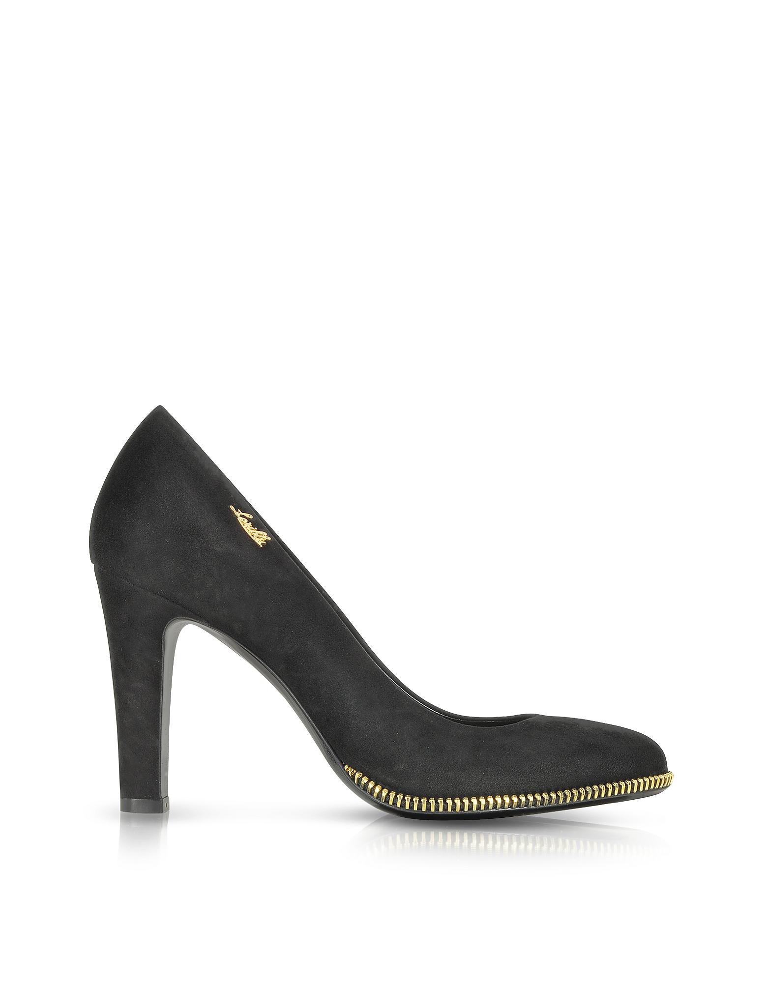 Черные Замшевые Туфли-Лодочки с Золотистой Декоративной Молнией