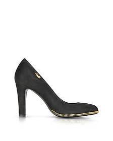 Black Suede Pump w/Gold Tone Decorative Zip - Loriblu