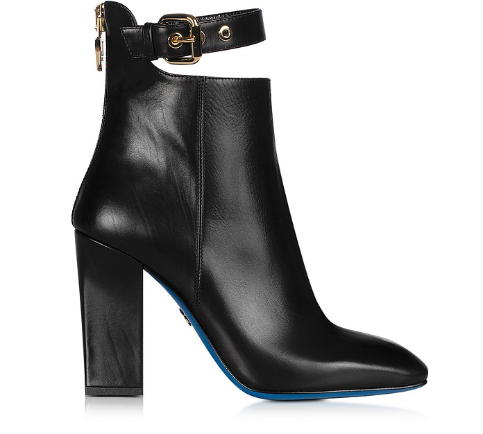 Black Leather Cut-out Bootie - Loriblu