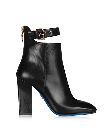 Black Leather Cut-out Bootie