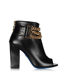 Black Leather Open Toe Ankle Boots - Loriblu