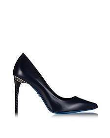 Midnight Blue Leather Pointed Pump - Loriblu