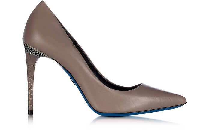 Dove Grey Leather Pointed Pump - Loriblu