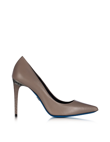 Loriblu - Dove Grey Leather Pointed Pump