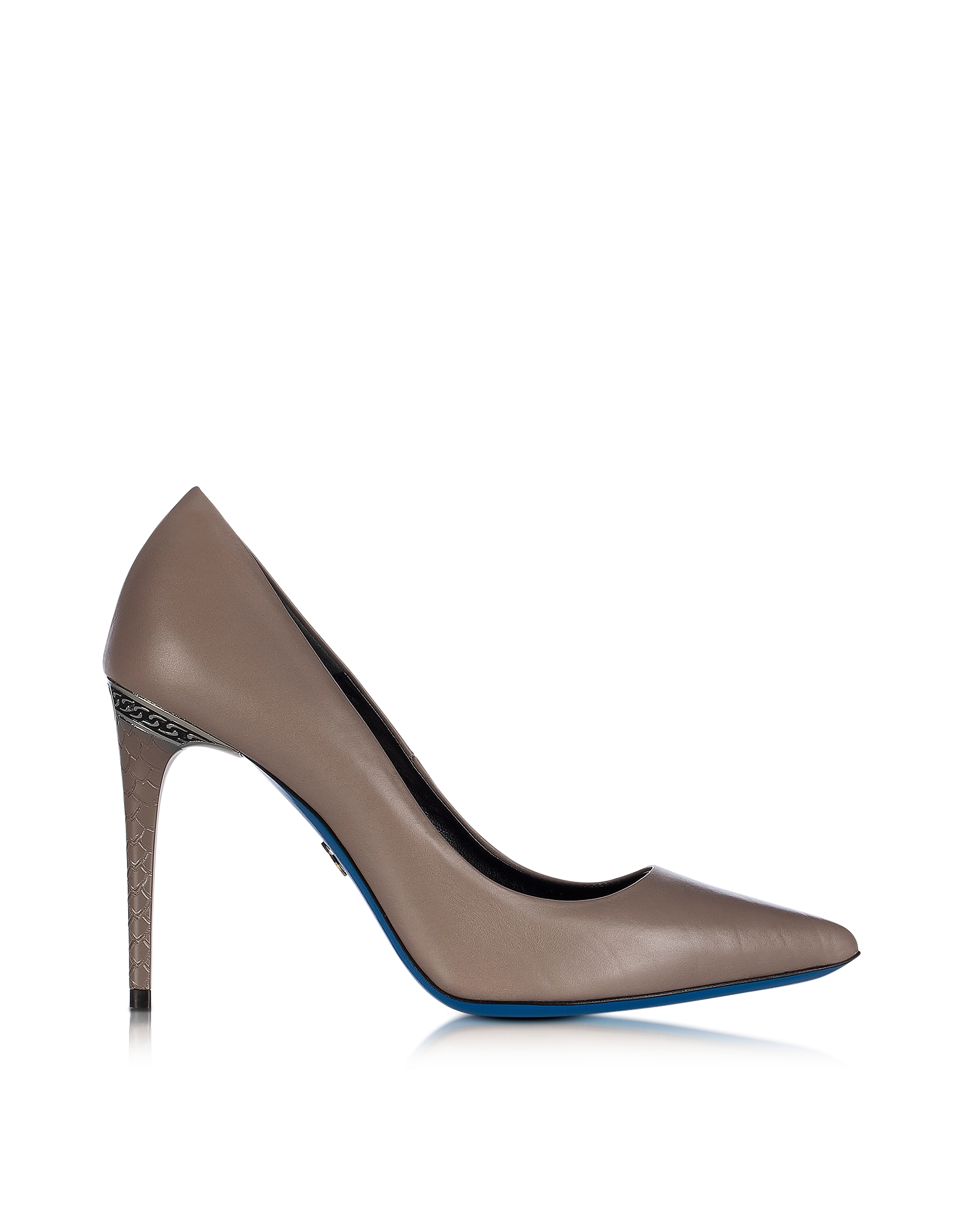 Loriblu Shoes, Dove Grey Leather Pointed Pump