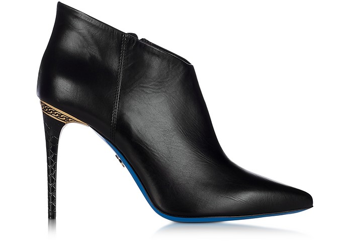 Black Leather Pointed Ankle Boot - Loriblu