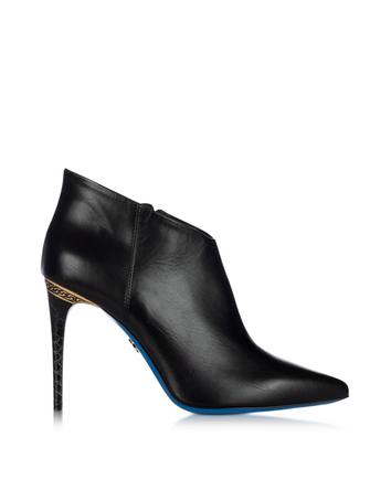 Lux-ID 317569 Black Leather Pointed Ankle Boot