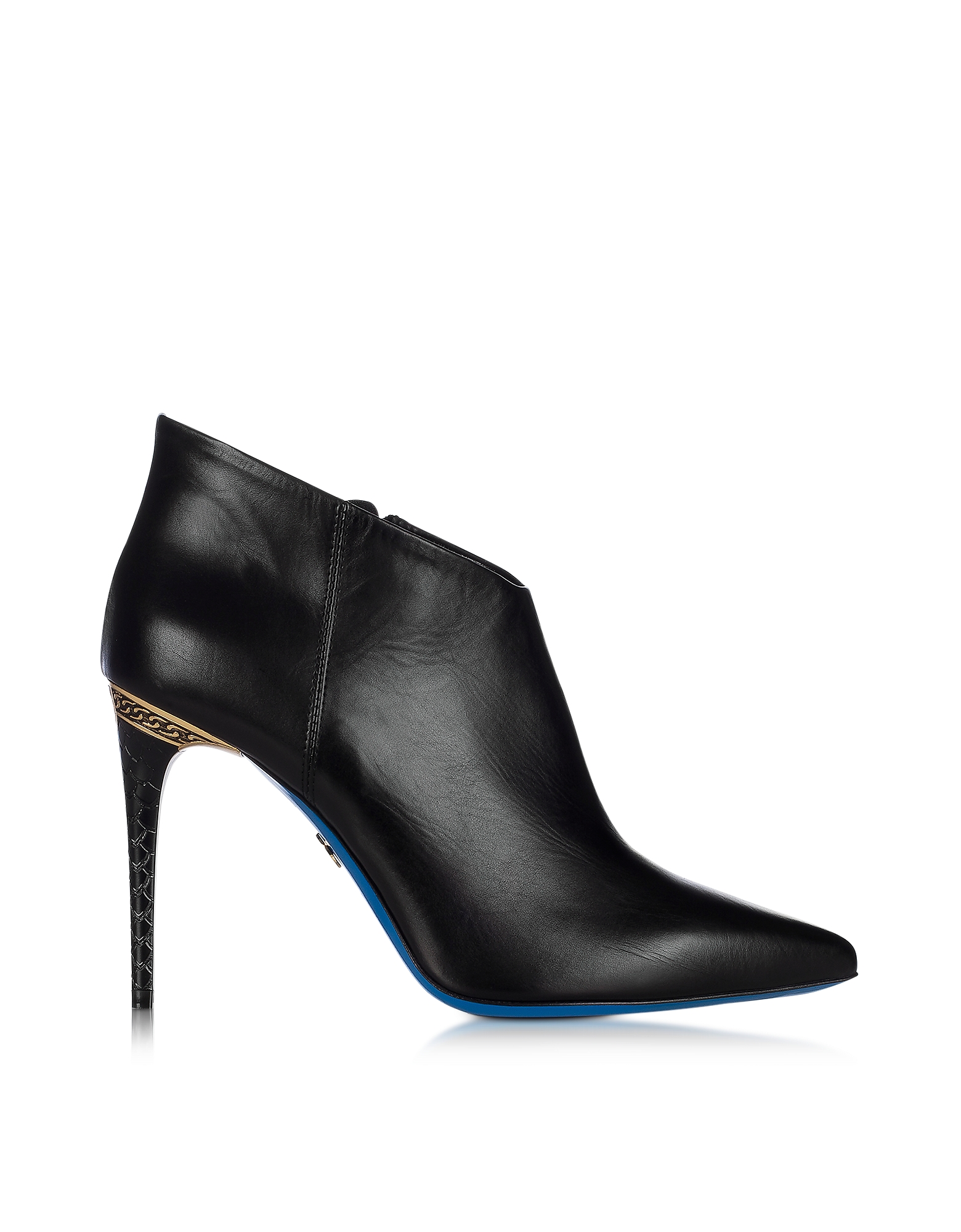 Loriblu Shoes, Black Leather Pointed Ankle Boot