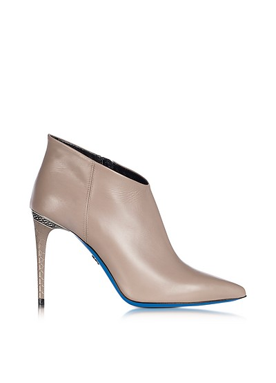 Dove Leather Pointed Ankle Boot - Loriblu