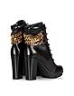 Black Leather Platform Ankle Boot   - Loriblu