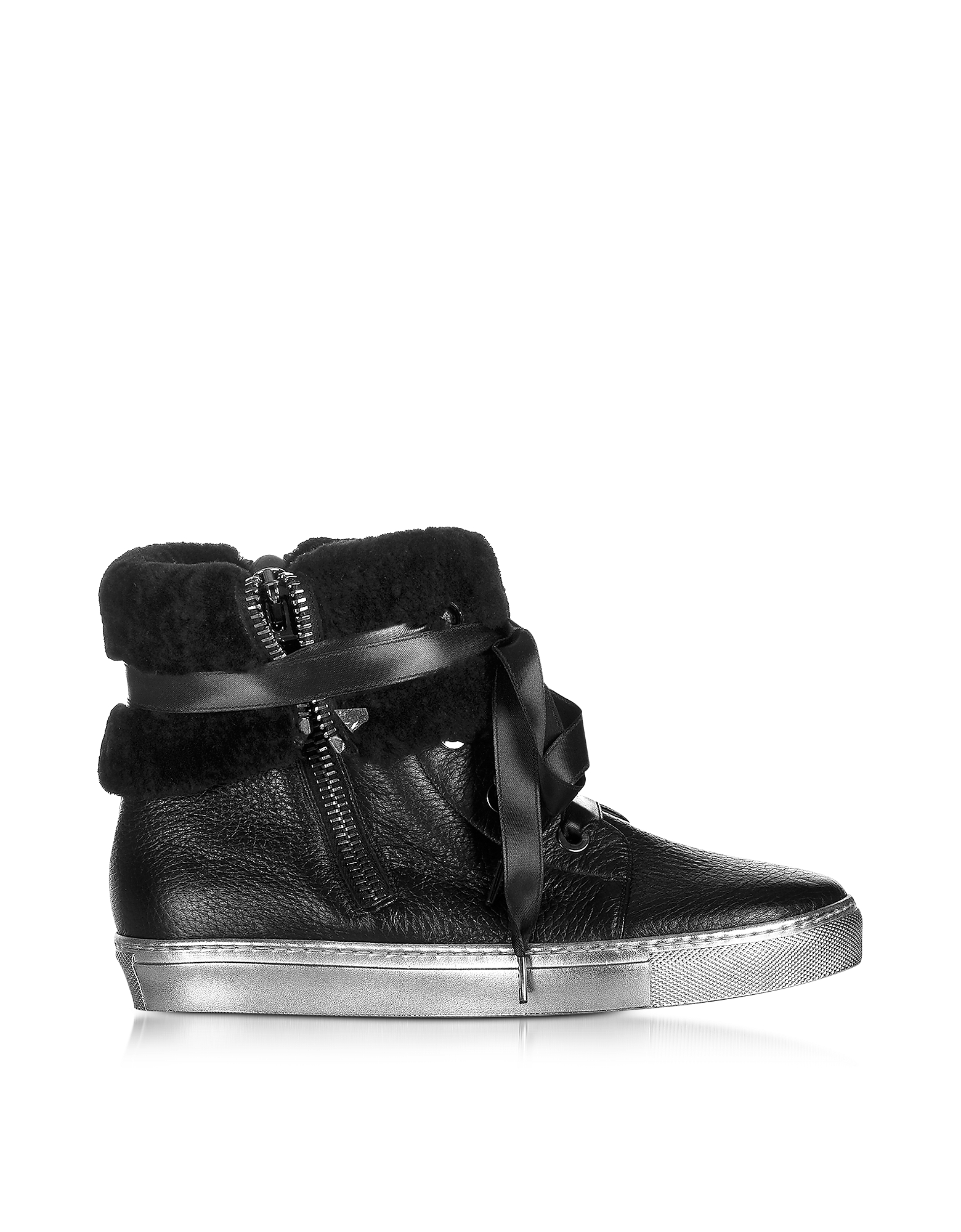 Loriblu Shoes, Cuffed Black Leather Sneaker
