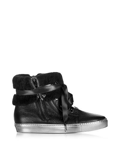 Cuffed Black Leather Sneaker - Loriblu